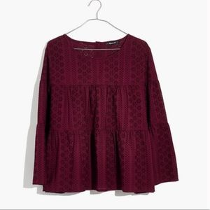 Madewell Eyelet Tiered Burgundy Button-Back Top 2X